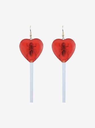 Cricket Heart Lollipop Drop Earrings