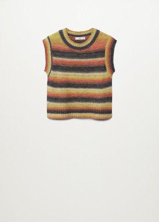 Multicoloured knitted vest - Women   Mango USA
