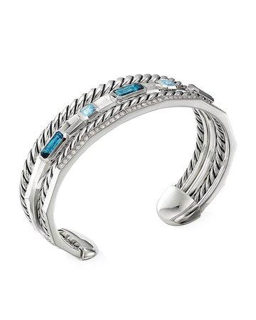 David Yurman Stax Narrow Blue Topaz & Diamond Cuff Bracelet | Neiman Marcus