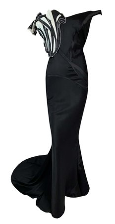 NWT S/S 1996 John Galliano Runway Avant Garde Black and White Gown w Train For Sale at 1stDibs