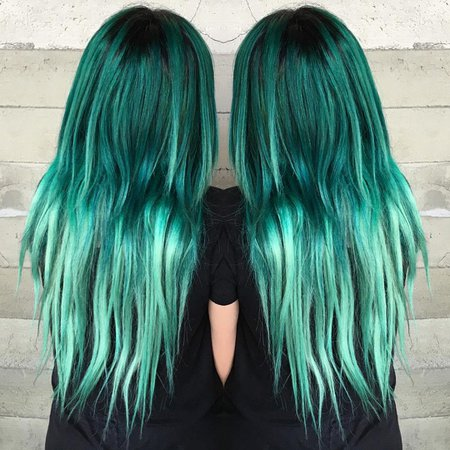 Green Teal Ombre Hair