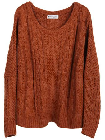 Pumpkin-Cinnamon Cable-Knit Sweater