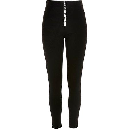 Black RI branded zip front leggings   River Island