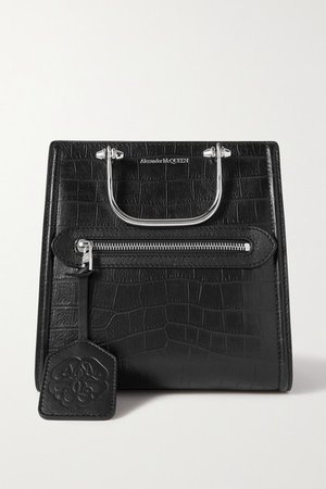 The Short Story Small Croc-effect Leather Tote - Black