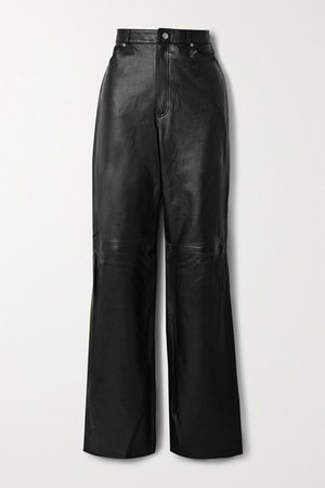 Mila Leather Wide-leg Pants - Black