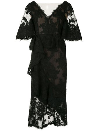 Marchesa, Sheer Lace Cocktail Dress