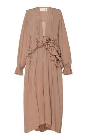 Ruffled Silk-Chiffon Midi Dress by Victoria Beckham | Moda Operandi