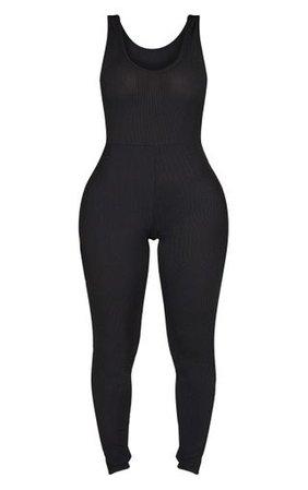 Shape Black Ribbed Scoop Neck Jumpsuit | PrettyLittleThing