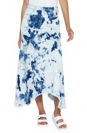 Pieced Tie Dye Denim Skirt