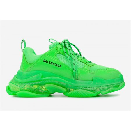 Mens Balenciaga Triple-S Shoes Neon Green