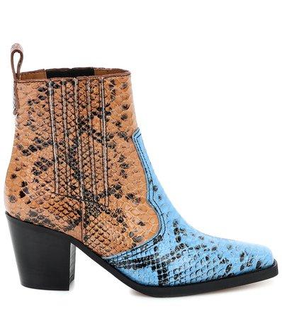 Snake-Effect Leather Ankle Boots - Ganni | Mytheresa