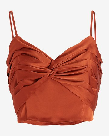 Satin Twist Front Cropped Cami   Express