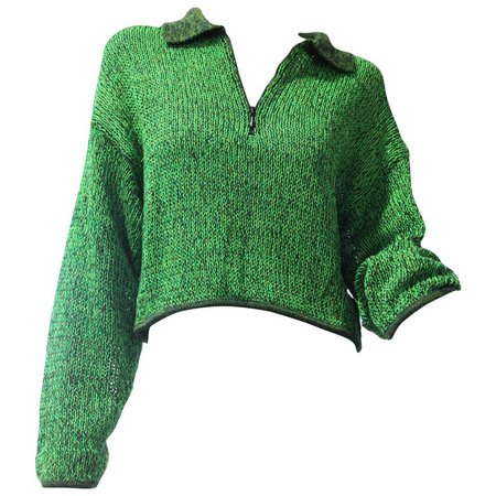 1980s Jean Paul Gaultier Cropped Zip-Front Sweater in Neon Green and Black For Sale at 1stdibs