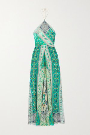 Printed Silk-chiffon Halterneck Maxi Dress - Turquoise