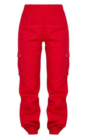 Red Pocket Detail Cargo Pants   Pants   PrettyLittleThing USA