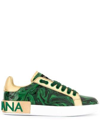 Dolce & Gabbana Portofino printed logo sneakers green CK1544AJ550 - Farfetch