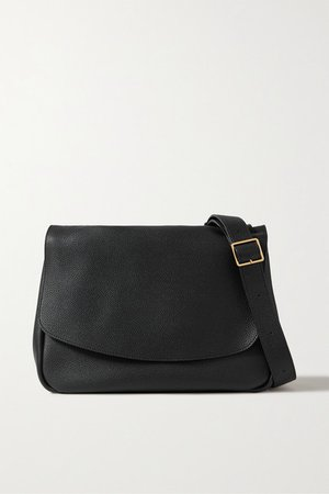 Mail Small Textured-leather Shoulder Bag - Black