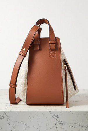 Hammock Small Paneled Leather And Canvas-jacquard Tote - Tan