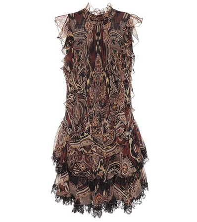 Paisley silk chiffon dress
