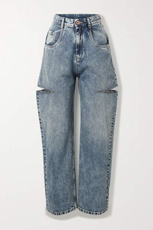 Distressed High-rise Wide-leg Jeans - Blue