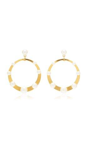Pescale Pearl-Embellished Gold-Tone Hoop Earrings by Jennifer Behr | Moda Operandi