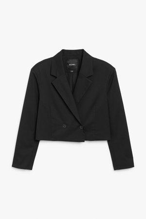 Cropped blazer - Black - Blazers - Monki WW