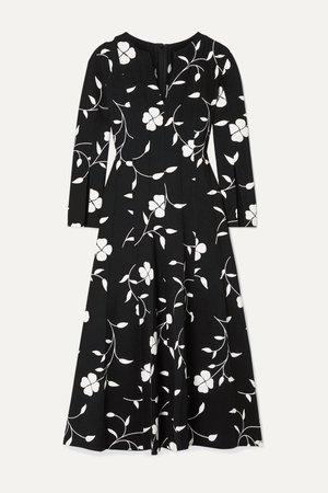Black Pleated floral-print wool-blend crepe midi dress | Oscar de la Renta | NET-A-PORTER