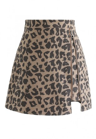 Leopard Print Zipper Mini Skirt in Sand - NEW ARRIVALS - Retro, Indie and Unique Fashion