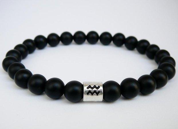 Aquarius bracelet Horoscope mens bracelet man women gift black | Etsy