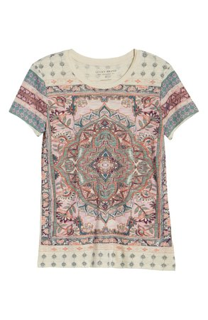 Lucky Brand Floral Paisley Cotton Blend T-Shirt | white