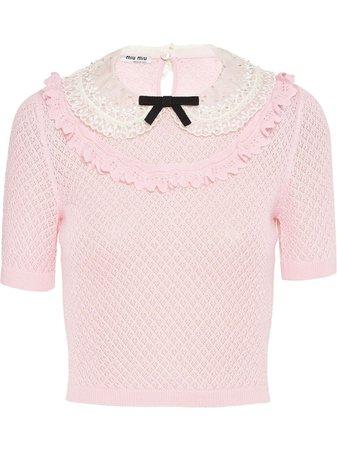 Miu Miu Peter Pan Lace Collar Knitted Top