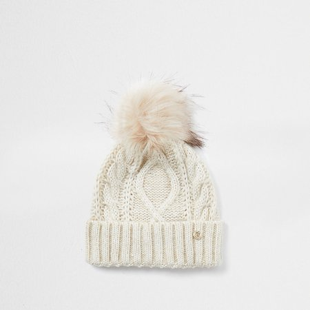 Beige cable knit beanie hat | River Island