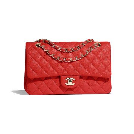 Grained Calfskin & Gold-Tone Metal Red Classic Handbag | CHANEL