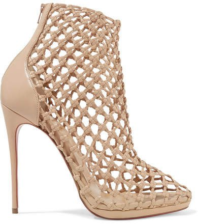 Porligat 120 Woven Leather Ankle Boots - Beige