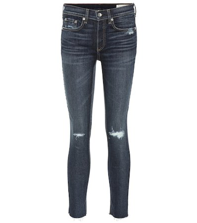 Distressed high-waisted skinny jeans