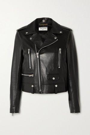 Black Leather biker jacket | SAINT LAURENT | NET-A-PORTER