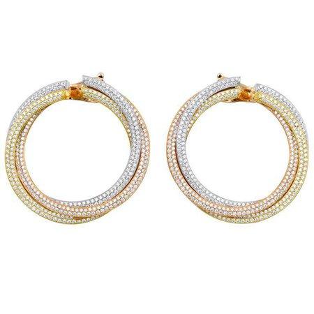 Cartier Diamond Tricolor Gold Trinity Hoop Earrings