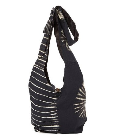 The Collection Royal Black & White Tie-Dye Hobo | zulily