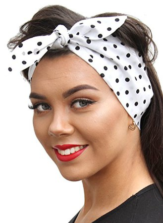 Black Spot On White Vintage 50s Style Pin Up Bow Head Scarf Bandana: Amazon.co.uk: Clothing