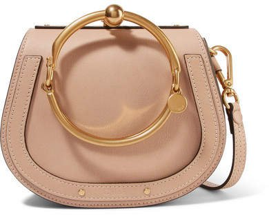 Nile Bracelet Leather And Suede Shoulder Bag - Beige