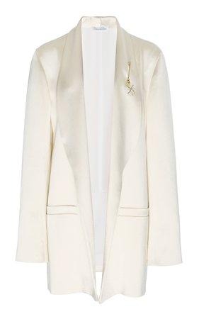 Oversized Embellished Satin Blazer by Oscar de la Renta | Moda Operandi