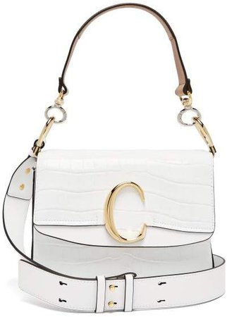 The C Crocodile Effect Leather Shoulder Bag - Womens - White
