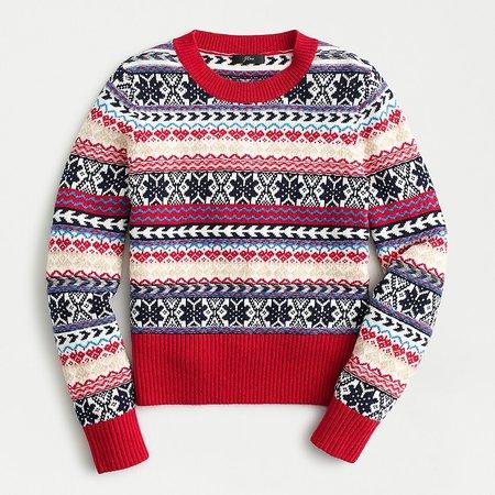 J.Crew: Crewneck Sweater In Fair Isle Stripe