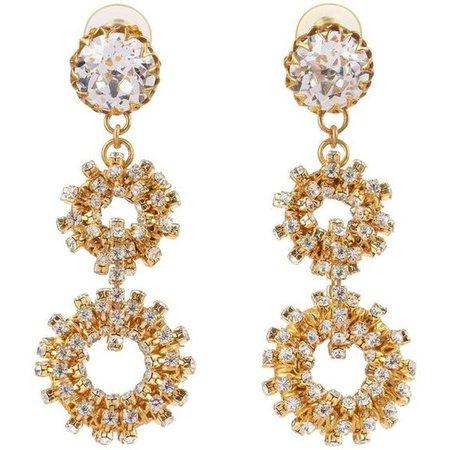 C.1960's Large Gold Crystal Rhinestone Double Hoop Dangle Earrings