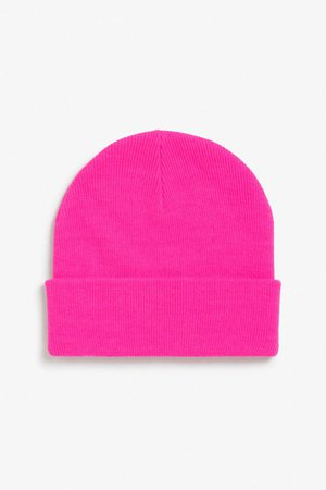 Classic beanie - pink ink - Hats, scarves & gloves - Monki GB