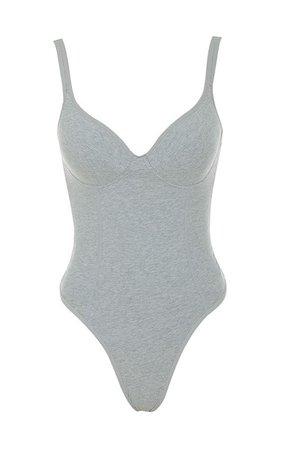 Clothing : Bodysuits : 'Imani' Grey Marl Soft Jersey Bodysuit