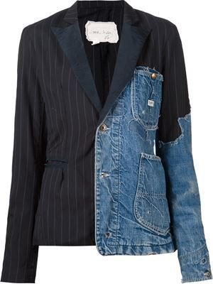 patchwork distressed denim blazer