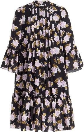 Erdem Winford Bibbed Silk Dress