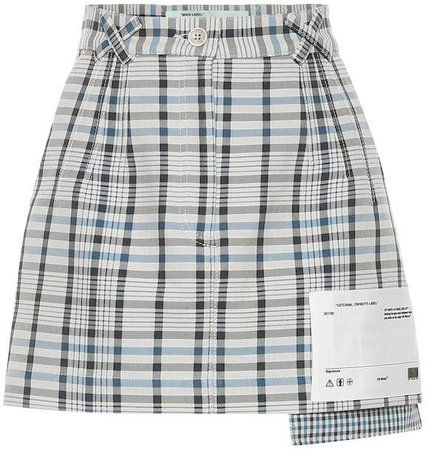 Off-White Checked cotton and silk miniskirt