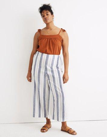 Linen-Cotton Huston Pull-On Crop Pants in Herringbone Stripe